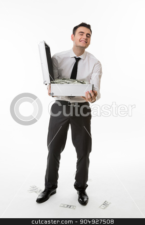 Manager kicks from money.  stock photo, Manager kicks from money. Man with suitcase full of money. by Denys