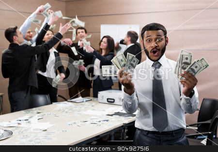Successful people.   stock photo, Boss divides profit. Company celebrates success. Successful people.     by Denys