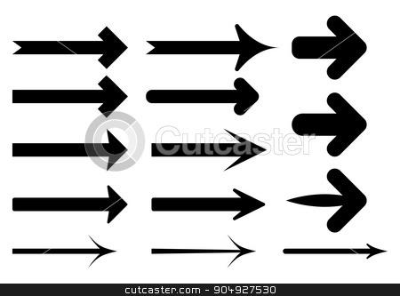 Vector illustration set of the black arrows stock vector clipart, Vector illustration set of the black arrows. by Amelisk