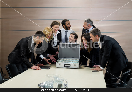 Chief distributes salary. stock photo, Chief distributes salary. Successful managers are rewarded. by Denys