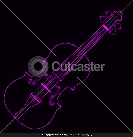 Vector illustration of neon violin stock vector clipart, Vector illustration of the pink neon violin. by Amelisk