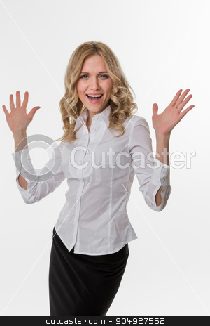 Lady thrilled. stock photo, Business woman delighted by the success. Cute girl in business attire. Lady thrilled. by Denys