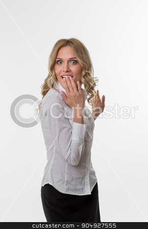 Lady thrilled. stock photo, Business woman delighted by the success. Cute girl in business attire. Lady surprise. by Denys