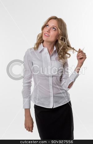 Business woman. stock photo, Business coach. Business woman dreamy. Business people. by Denys