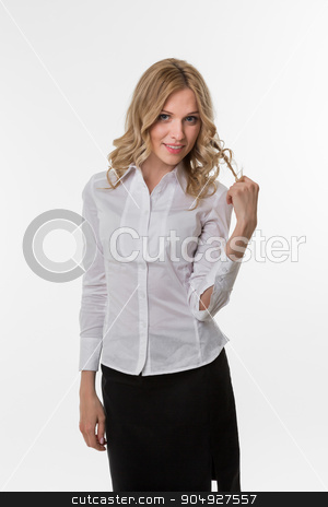 Pretty business woman. stock photo,  Business woman presents the project. Pretty lady. by Denys