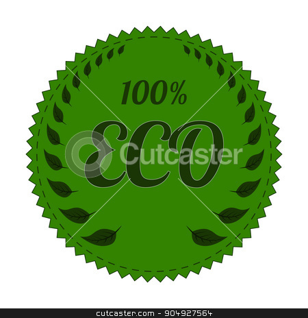 Vector illustration of a banner eco stock vector clipart, Vector illustration of a green banner eco. by Amelisk