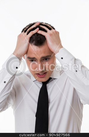 Emotional guy. stock photo,  Clerk impressed. Emotional guy. Desperate manager. Business people. by Denys