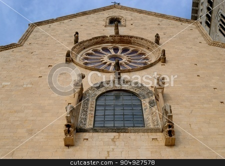 Rose window of the main facade Cathedral of Trani. stock photo, Rose window of the main facade Cathedral of Trani. Apulia - ITALY by Vitantonio Caporusso