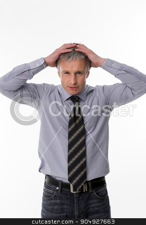 Unsuccessful businessman. stock photo, Handsome unsuccessful businessman. Glance of top manager. by Denys