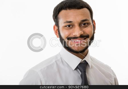 Smiling clerk. stock photo, Black manager on white background. Smiling clerk. by Denys