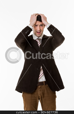 Young manager in panic. stock photo, Businessman loser.Young manager in panic. Frustrated clerk. by Denys