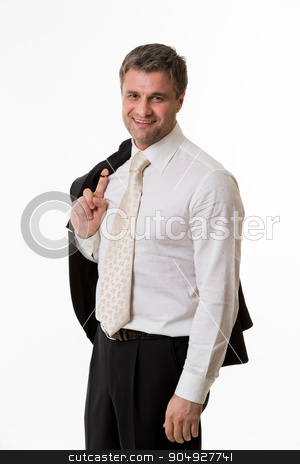 Successful smiling clerk. stock photo, Successful smiling clerk. Man in business suit. by Denys