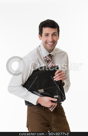 Smiling clerk with a briefcase. stock photo, Young manager with a briefcase in hand. Smiling clerk with a briefcase. by Denys