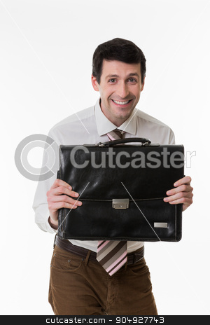 Funny clerk. stock photo, Smiling manager with a briefcase in hand. Funny clerk. by Denys