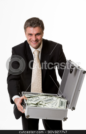 Man with suitcase full of money. stock photo, Man with suitcase full of money. Happy boss with a suitcase full of dollars. by Denys