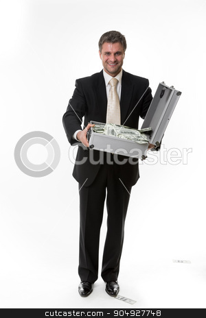 Man won the jackpot. stock photo, Surprised man with a suitcase full of dollars. Happy businessman with a suitcase of money. Man won the jackpot. by Denys