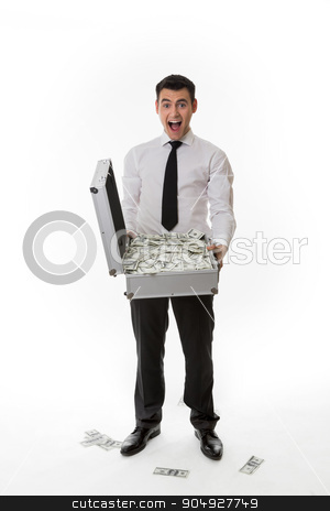 Manager pleased with money. stock photo, Manager pleased with money.Man with suitcase full of money. by Denys
