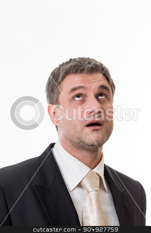Pensive boss. stock photo, Pensive boss. Clerk seeks to answer the question. by Denys
