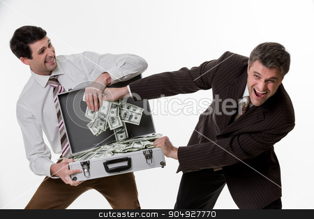 Businessmen divide profit.  stock photo, Businessmen divide profit. Clerks won the jackpot. Business people with suitcase full of money. by Denys