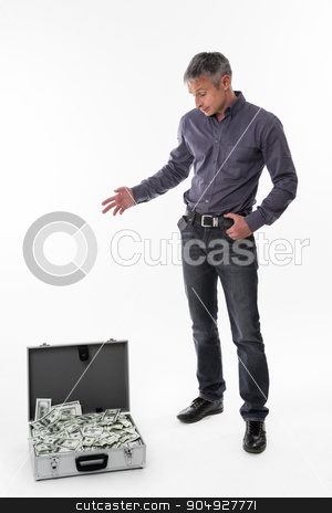 Manager pleasantly surprised. stock photo, Manager pleasantly surprised  the suitcase of money. by Denys