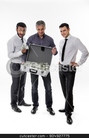 Successful people. stock photo, Businessmen have earned a lot of money. Successful people.Young people with a suitcase full of money.  by Denys