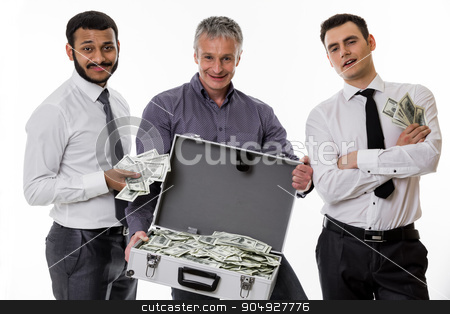Businessmen have earned a lot of money. stock photo, Young people with a suitcase full of money. Businessmen have earned a lot of money.  by Denys