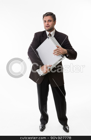 Happy boss. stock photo, Man hug the suitcase full of money. Happy boss with a suitcase full of dollars. by Denys