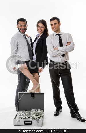 Business colleagues. stock photo, Two manager and business woman happy to make money. Business colleagues. by Denys