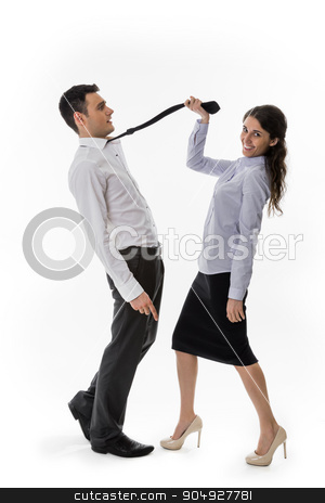 Business woman flirting. stock photo,  Office romance. Business woman flirting with the clerk. Office romance. by Denys