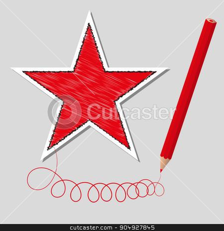 Vector illustration dashed star and pencil stock vector clipart, Vector illustration dashed star and pencil. Stock vector by Amelisk