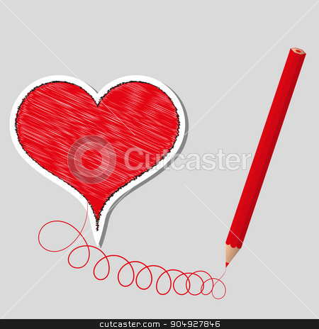 Vector illustration primed heart and pencil stock vector clipart, Vector illustration primed heart and pencil. Stock vector by Amelisk