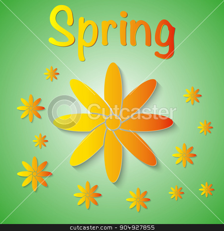 Vector illustration of a spring background stock vector clipart, Vector illustration of a spring background with flowers. by Amelisk