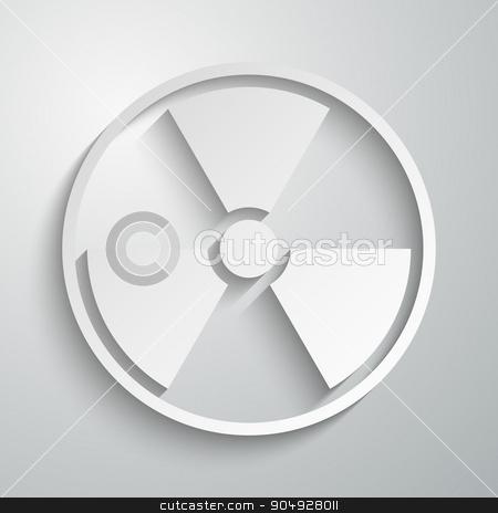 Vector illustration of a radiation sign paper stock vector clipart, Vector illustration of a radiation sign paper. by Amelisk