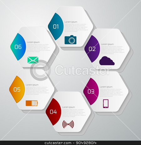 Vector illustration infographics with hexagons stock vector clipart, Vector illustration infographics with hexagons. Stock vector by Amelisk