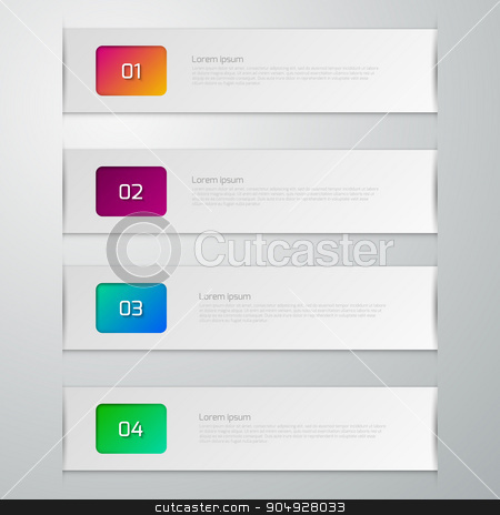 Vector illustration infographics four paper strips stock vector clipart, Vector illustration infographics four paper strips. Stock vector by Amelisk