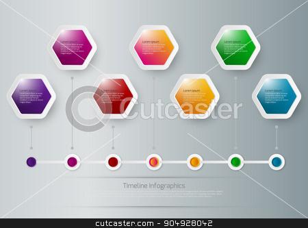 Vector illustration of a timeline infographics stock vector clipart, Vector illustration of a timeline infographics hexagons. Stock vector by Amelisk
