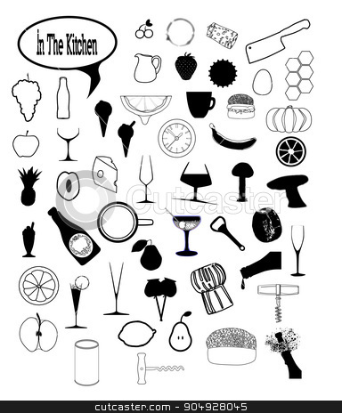 In The Kitchen stock vector clipart, A collection of kitchen and food icons over a white background by Kotto