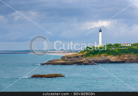 Biarritz lighthouse stock photo, Biarritz lighthouse by a cloudy day, France by Dutourdumonde
