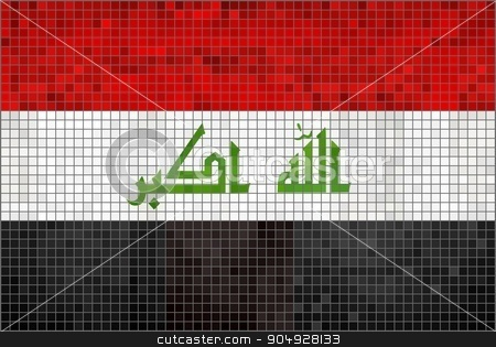 Flag of Iraq stock vector clipart, Flag of Iraq - Illustration,  Abstract Mosaic of Iraq flag,  Grunge Iraq Flag,  Abstract grunge mosaic vector by Jugoslav
