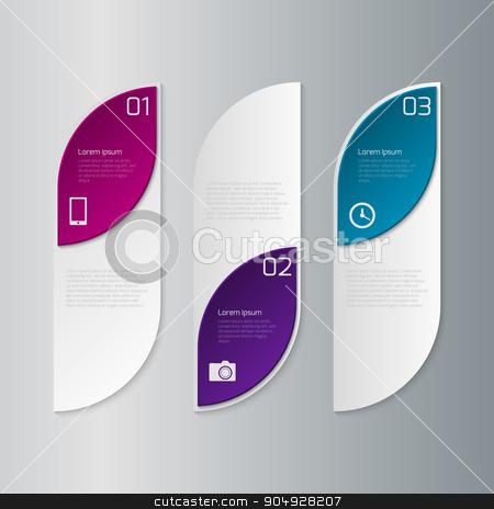 Vector illustration infographics three rectangles stock vector clipart, Vector illustration infographics three rectangles with rounded corners. by Amelisk
