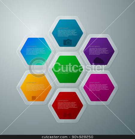 Vector illustration infographics hexagons stock vector clipart, Vector illustration infographics hexagons with shadows. Stock vector by Amelisk