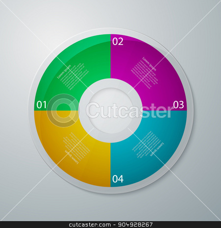 Vector illustration infographics circle stock vector clipart, Vector illustration infographics circle with four quadrants. by Amelisk