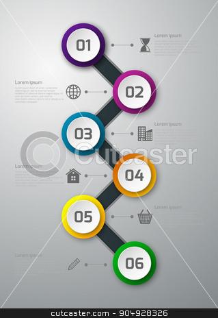 Vector illustration infographics timeline circles stock vector clipart, Vector illustration infographics timeline paper circles. Stock vector by Amelisk