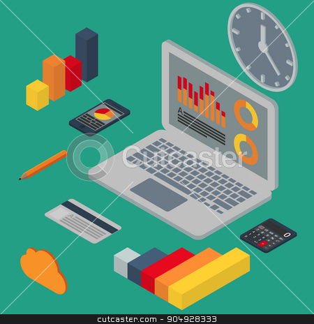 Vector illustration isometric stock vector clipart, Vector illustration isometric business set. Stock vector by Amelisk