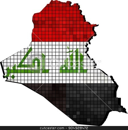 Iraq map with flag inside stock vector clipart, Iraq map with flag inside, Iraq map grunge mosaic, Map of Iraq in mosaic,  Abstract grunge mosaic vector by Jugoslav