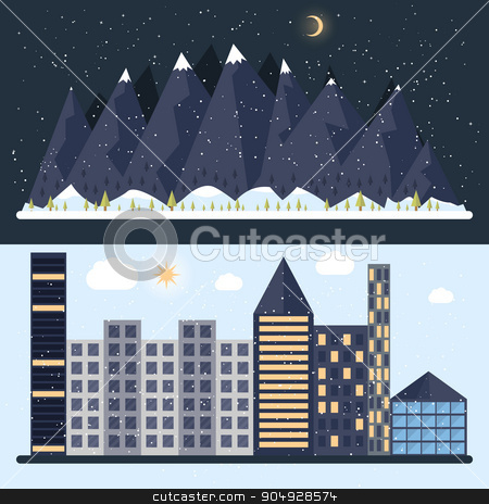 Vector illustration of a flat design with city stock vector clipart, Vector illustration of a flat design with city, mountain. Stock vector by Amelisk