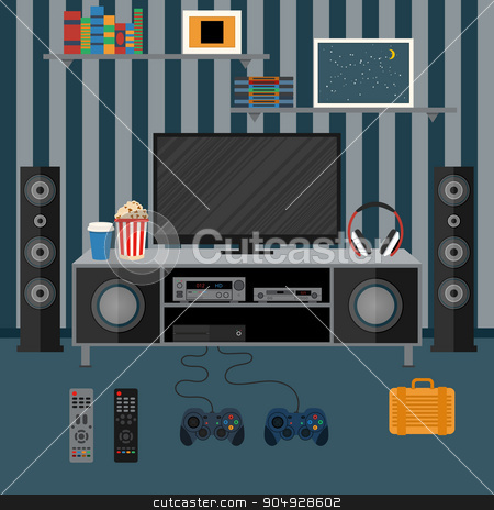 Vector illustration apartment with a home cinema stock vector clipart, Vector illustration apartment with a home cinema. Illustration flat TV. by Amelisk
