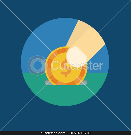 Vector illustration of a coin in his hand stock vector clipart, Vector illustration of a coin in his hand. by Amelisk
