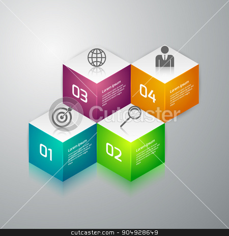 Vector illustration infographics 3d cubes stock vector clipart, Vector illustration infographics 3d cubes. Stock vector by Amelisk