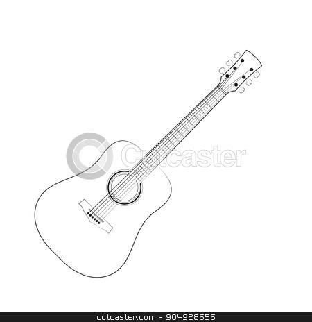 Vector illustration of black outlines guitar stock vector clipart, Vector illustration of black outlines guitar. Stock vector by Amelisk